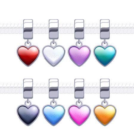 charm: Assorted metal charm heart pendants for necklace or bracelet. Illustration