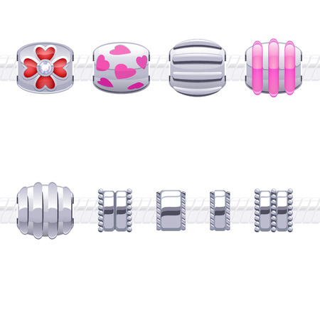 Assorted metal charm beads for necklace or bracelet.