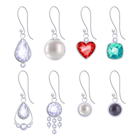 earrings: Set of assorted silver earrings with gemstones and pearls. Illustration