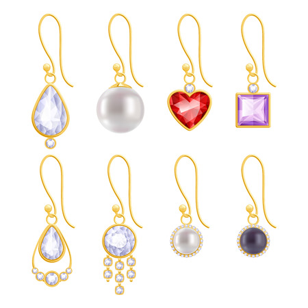 Set of assorted golden earrings with gemstones and pearls. Vector