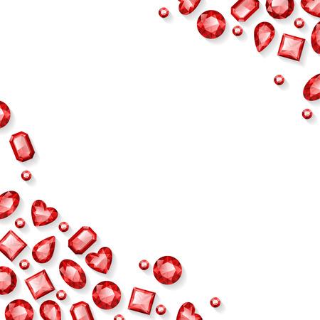 Frame of red sparkle gemstones on white background. Illustration