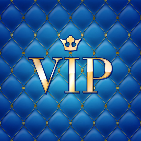 VIP abstract quilted background, diamonds and golden letters with crown. Illustration