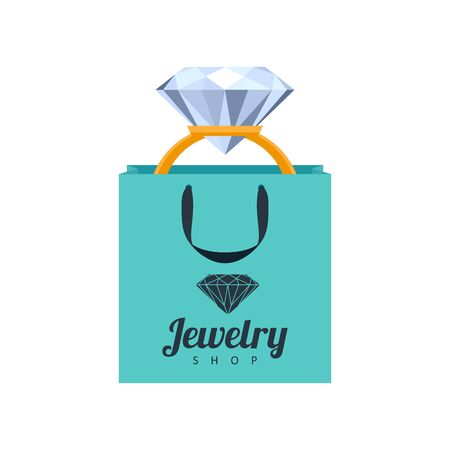 anniversary sale: Golden ring with diamond in turquoise gift bag illustration. Jewelry shop icon template.
