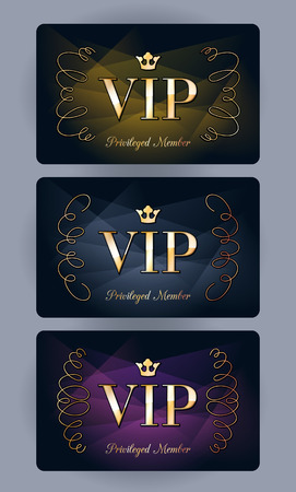 VIP cards with abstract gradient and vignettes background. Different cards categories - purple, golden, silver. Members only design. Иллюстрация