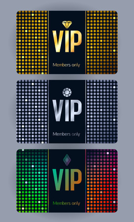 VIP cards with abstract mosaic sequins background. Different cards categories - silver, golden, colorful. Members only design.