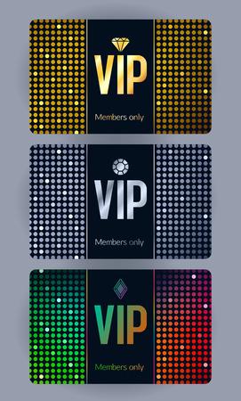 VIP kaarten met abstracte mozaïek pailletten achtergrond. Verschillende kaarten categorieën - zilveren, gouden, kleurrijk. Leden alleen het ontwerp.