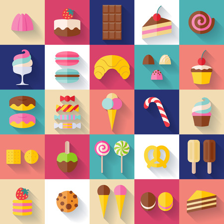 golosinas: Conjunto de iconos de los alimentos dulces estilo plano con la sombra. Caramelo, dulces, lollipop, pasteles, donas, macarrones, helados, gelatinas.