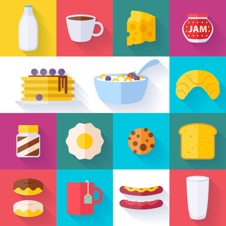 sweet mustard: Set of colorful breakfast icons flat style with shadow. Morning food symbols.