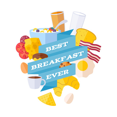 morning breakfast: Breakfast icons with ribbon illustration. Morning meal poster.