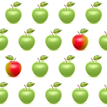 green apples: Realistic red and green apples seamless pattern.