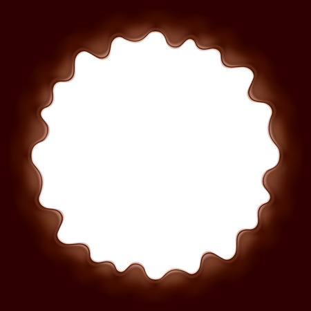 melted chocolate: Chocolate background. Round space surrounded with melted chocolate