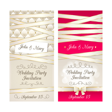 quilted: Wedding invitation cards set. Beige, pink and golden design template set. Quilted dexture and ribbons. Illustration