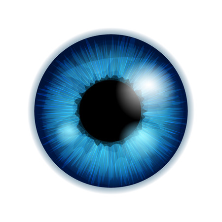 Human eye iris pupil isolated on white background - blue color. Ilustracja