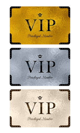 VIP cards with abstract ripple metall background. Different cards categories. Members only design. Illusztráció