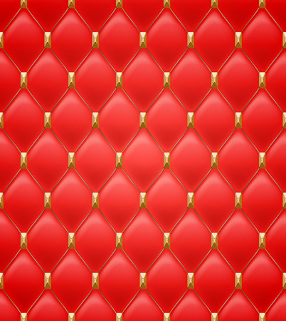 quilted fabric: Quilted seamless pattern. Red color. Golden metalling stitching with square faceted rivets on textile.