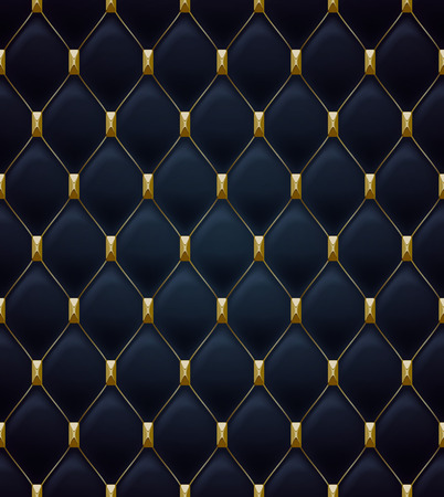 quilted fabric: Quilted seamless pattern. Black color. Golden metalling stitching with square faceted rivets on textile.