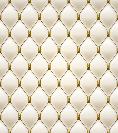 quilted fabric: Quilted seamless pattern. Cream color. Golden metalling stitching with square faceted rivets on textile. Illustration