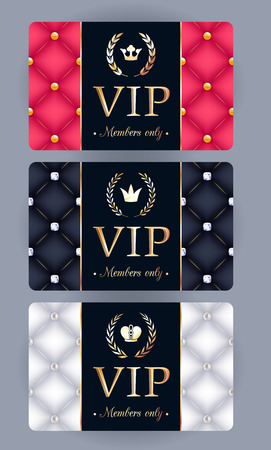 VIP cards with abstract quilted background, laurels and crowns. Different cards categories. Members only design. Vector