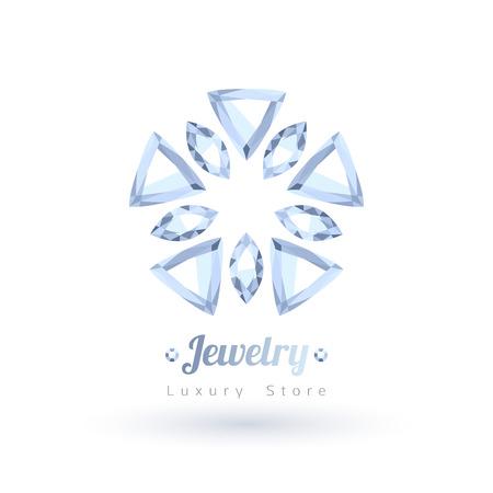 White gemstones jewelry symbol. Star or flower shape. Diamonds on white background.