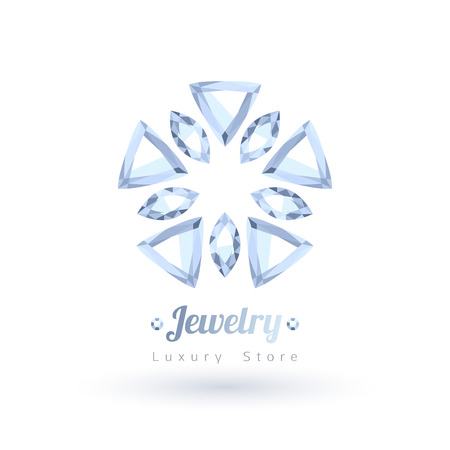 diamond background: White gemstones jewelry symbol. Star or flower shape. Diamonds on white background.
