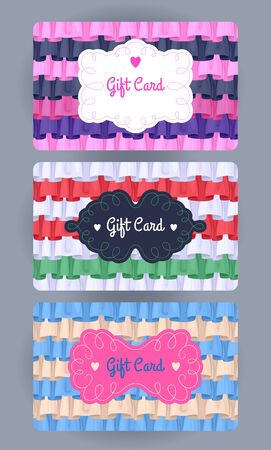 ruffles: Discount cards with ruffles and frills set. Elegant beautiful colorful backgrounds with vignettes.