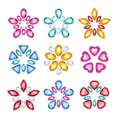 fashion jewelry: Colorful gemstones jewelry symbols set. Star or flower shape.