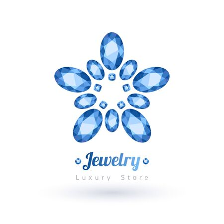 Blue oval gemstones jewelry symbol. Star or flower shape. Sapphires on white background.