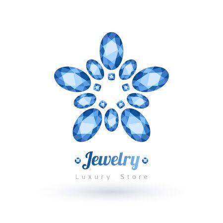 zafiro: Piedras preciosas ovales azul símbolo de la joyería. Estrella o forma de flor. Zafiros sobre fondo blanco.