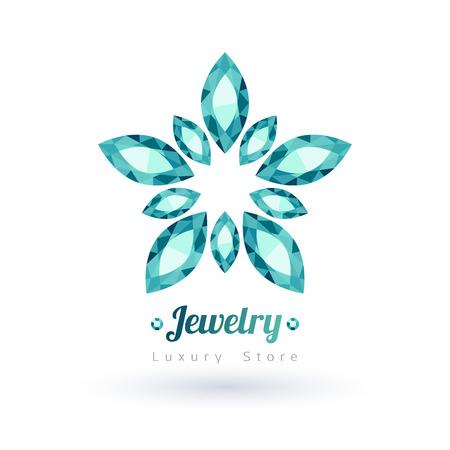 green gemstones: Green gemstones jewelry symbol. Star or flower shape. Emeralds on white background. Illustration