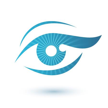 ojos azules: Ojo de la mujer icono de belleza s�mbolo. Icono Vision.