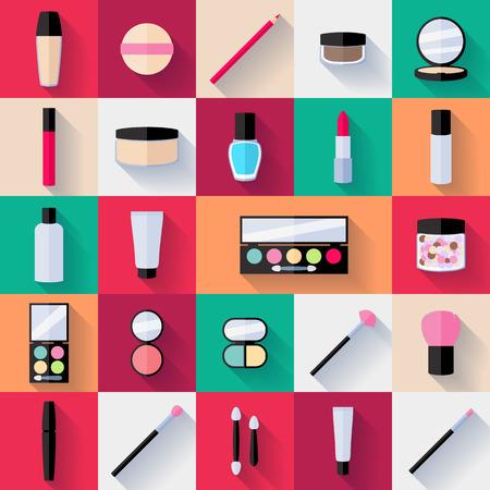 Make-up flat icons set. Vector illustration. Illusztráció