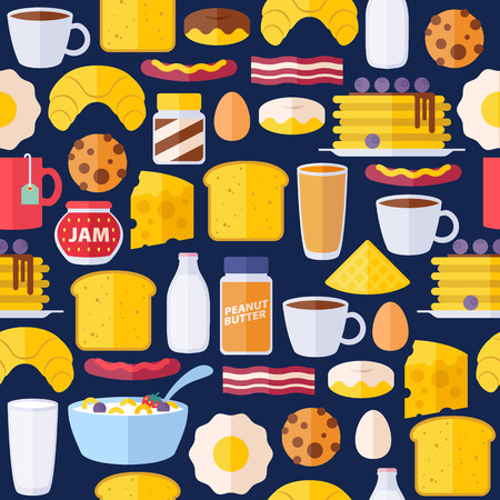 juice bottle: Breakfast icons seamless colorful pattern. Morning food background illustration.