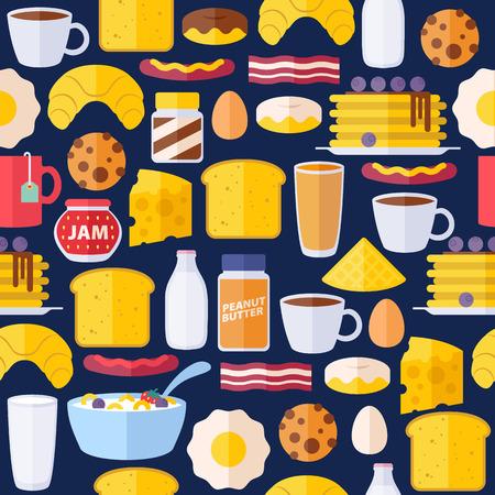 desayuno: Iconos del desayuno seamless patr�n de colores. Ma�ana ilustraci�n de fondo de alimentos.