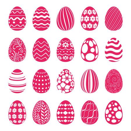 huevos de pascua: Conjunto de los huevos de Pascua decorados con adornos geom�tricos y florales. S�mbolos de vacaciones para el dise�o. Vectores