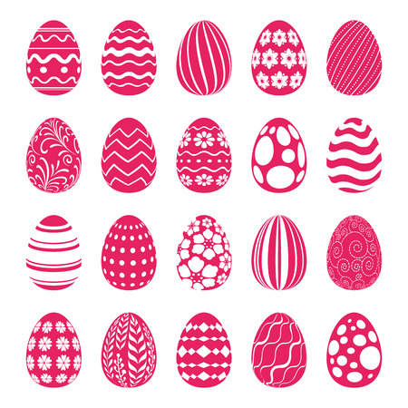 easter egg: Set of Easter eggs decorated with geometric and floral ornaments. Holiday symbols for design.
