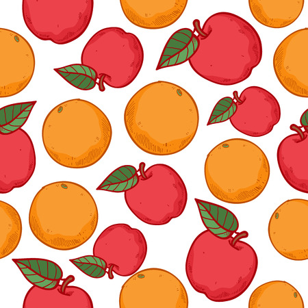 apples and oranges: Oranges and apples seamless pattern. Ripe fruits background. Sketch hand drawn style.