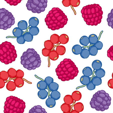blackberry: Currant and blackberry seamless pattern. Ripe berries background. Sketch hand drawn style.