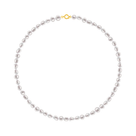 string of pearls: Freshwater Pearl Round Necklace on white background. Jewelry accessory.