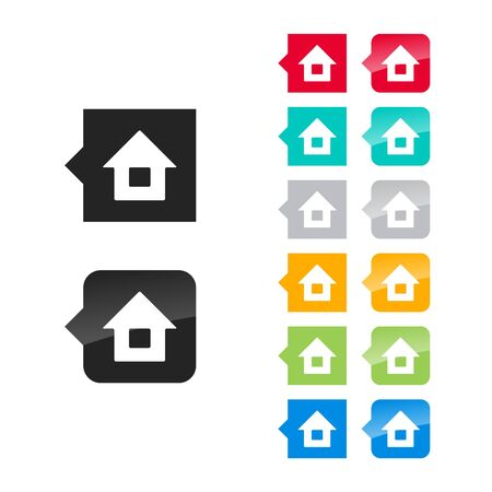 Home icon for user interface - flat and glossy style, color variations. Stylized square speech bubbles with symbol. Vector
