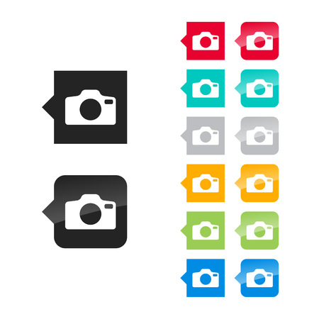Photo camera icon for user interface - flat and glossy style, color variations. Stylized square speech bubbles with symbol. Vector