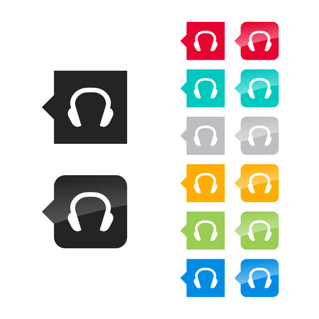 Headphones icon for user interface - flat and glossy style, color variations. Stylized square speech bubbles with symbol. Vector