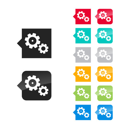 Gears, settings icon for user interface - flat and glossy style, color variations. Stylized square speech bubbles with symbol. Vector