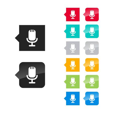 Microphone icon for user interface - flat and glossy style, color variations. Stylized square speech bubbles with symbol. Vector