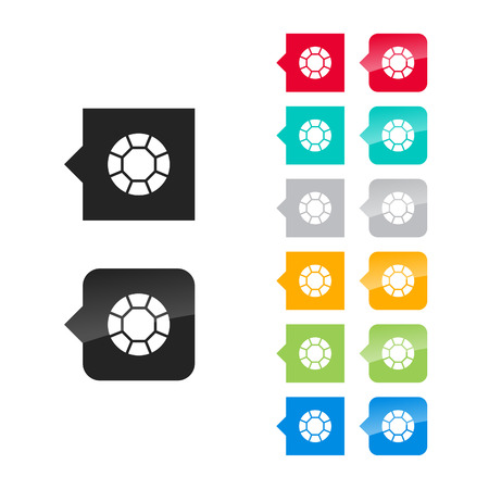 karat: Jewel, gemstone note icon for user interface - flat and glossy style, color variations. Stylized square speech bubbles with symbol. Illustration