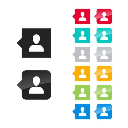 one person: Profile, one person icon for user interface - flat and glossy style, color variations. Stylized square speech bubbles with symbol. Illustration