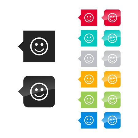 Smile icon for user interface - flat and glossy style, color variations. Stylized square speech bubbles with symbol. Vector