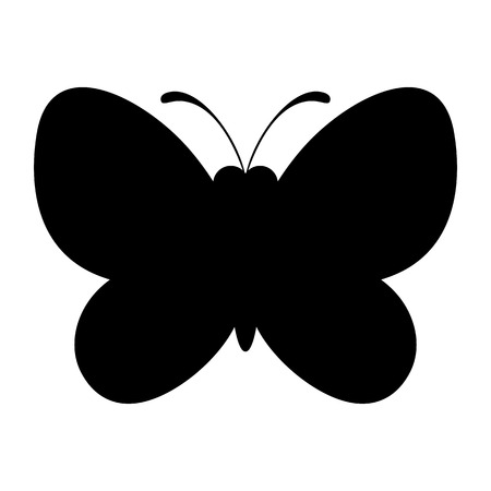 butterfly: Black butterfly silhouette icon. Nature symbol. Illustration