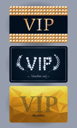 VIP cards with abstract backgrounds, laurels, gold and gemstones. Different cards categories. Members only design. Vector