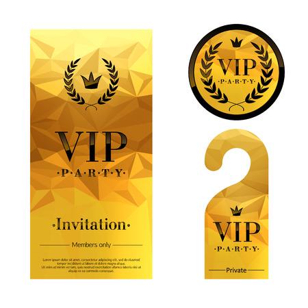 VIP-Party Premium-Einladungskarte, Warn Aufhänger und runde Etiketten Abzeichen. Goldene facettierten Mosaik-Design-Vorlage festgelegt. Lorbeerkranz und Krone.
