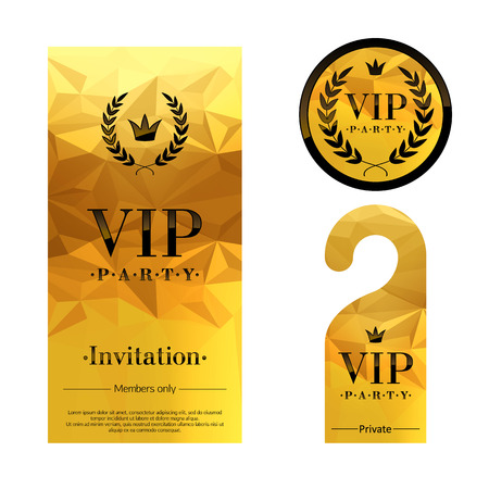 vip design: VIP party premium invitation card, warning hanger and round label badge. Golden faceted mosaic design template set. Laurel wreath and crown. Illustration